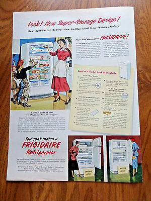 1950 Frigidaire Refrigerator Ad Housewife Youngsters Cowboy Indian