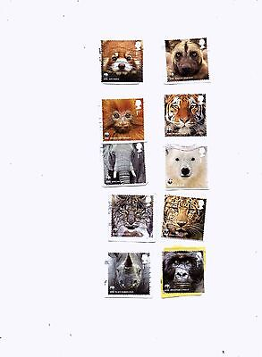 GREAT BRITAIN STAMPS 2011 WWWF set of 10 from kiloware.