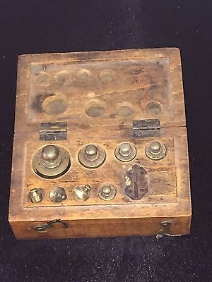 Antique Pharmacy Drug Apothecary Balance Scale Weights Wood Box Set Brass ESTATE