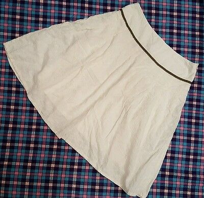 Embroidered Eyelets Pleated Lined Cotton Ivory A-Line Spring Skirt Women's 12 L