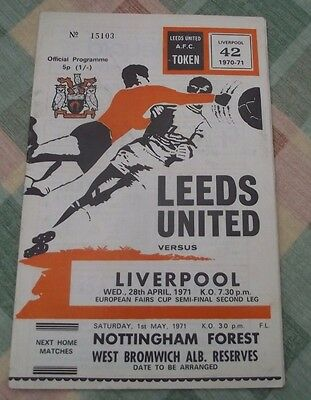Leeds Utd V Liverpool Fairs Cup Semi-Final Second Leg April 1971 Programme