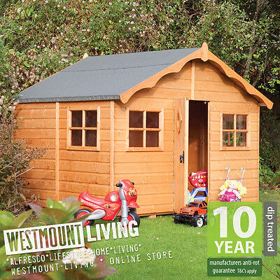New Large 8 X 7 Ft Childrens Childs Wooden Garden Playhouse Wendy House Den