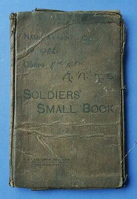 Pre WW1 British Army Soldier's Small Book, 1910. Kings Royal Rifle Corps 5 Plat