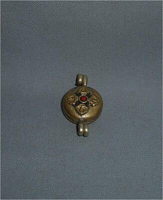 Antique Tibet Nepal FINE AGED USED SMALL BUDDHIST GAU AMULET WITH DOUBLE VAJRA
