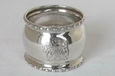 A Beautiful Solid Sterling Silver Royal Coat Of Arms Napkin Ring Birmingham 1918