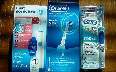 3 Electric Toothbrushes - Oral B Precision 1000 + Philips Sonicare Essence +