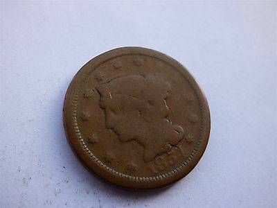 USA Braided Hair Large Cent 1854/ 1845 Double Heads Old Trick Coin (myrefn95B)
