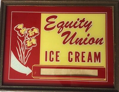 Vintage Antique Equity Union Ice Cream  Advertising Sign Reverse Paint Rare