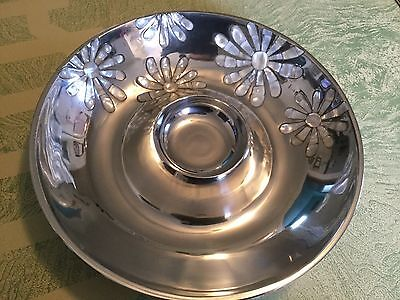 TOWLE Silversmiths Chip and Dip platter plate w floral Mother of Pearl inlay