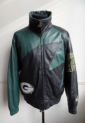 Green Bay Packers Vintage Leather NFL Harrington Bomber Jacket Black Size Large