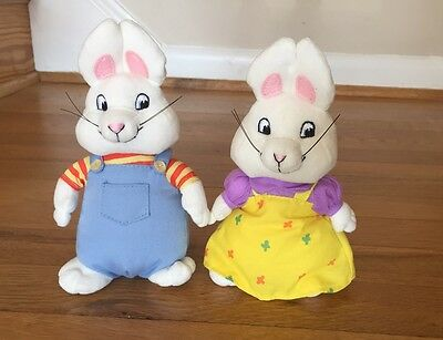 TY Beanie Babies MAX and RUBY Plush Pair Bunny Rabbits 7""