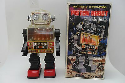 Rare Piston Robot Battery Operated by S.J.M Toys Made in Taiwan 1970's Box