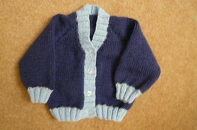 NEW hand knitted, french blue and light blue baby/toddler cardigan 3-6+ months