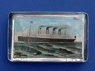"""C1911 White Star Line R.m.s.""""olympic"""" Souvenir Glass Paperweight - Titanic."""