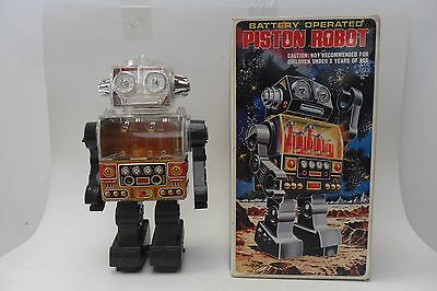 Rare Piston Robot Battery Operated by S.H. Horikawa Made in Japan 1960's Box