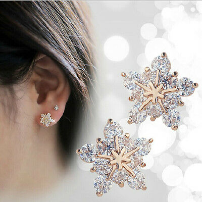 New Coming Cute Snowflake Flower Stud Earrings Rose Gold Crystal Jewelry Fashion