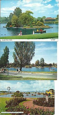 Elgin and Largs boating lakes - 3 postcards