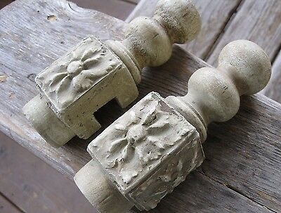 2 Vintage Architectural Finial/connectors Antique Posts Salvage Shabby Chic Worn