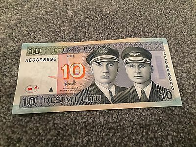 Lithuanian LT Former Currency Litas 10 Banknote Gay