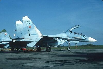 Original Kodak aircraft slide,Su-27UB 73 blue at Choina/Poland 4-May-1992