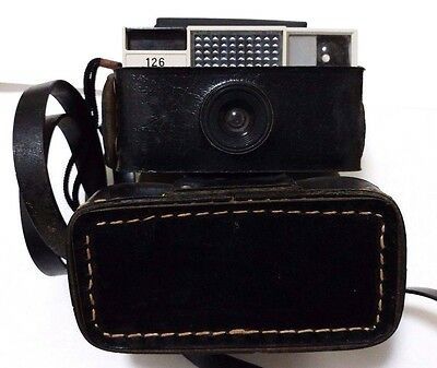 VINTAGE 1960s AGFA AGFAMATIC 126 CAMERA WITH ORIGINAL LEATHER CASE