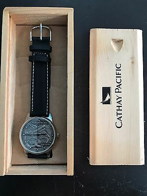 BRAND NEW IN WOOD BOX Cathay Pacific Watch 50th Anniversary