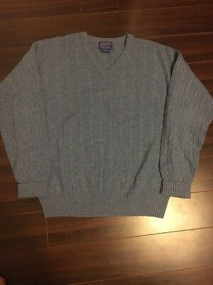 Vintage Mens Pendleton Virgin Wool Cable Knit Sweater