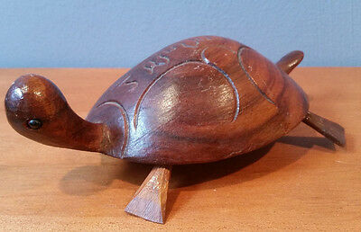 Near Vintage JAMAICAN Hand Carved Wooden Turtle Great Decor