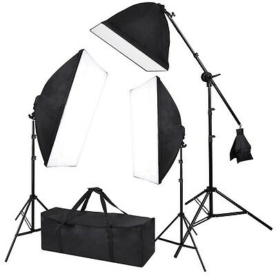 2000W Photography 3 Softbox Boom Stand Continuous Light Kit Photo Studio Video