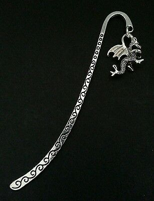 New Collectable Antique Silver Tone Metal Bookmark with Dragon Shape Charm