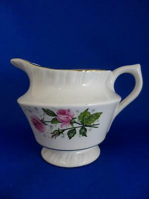"""CREAM PITCHER 8 OZ.-American Limoges China """"CATHY R2 ~ Pink Roses~22K Gold Trim"""
