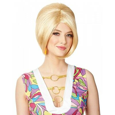 60s Wig Adult Blonde Beehive Mod Go Go Girl Halloween Fancy Dress