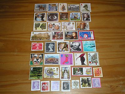 "GB Stamps 39 x RECENT MODERN COMMEMORATIVES & other stamps ""USED"" ON PAPER  #8"