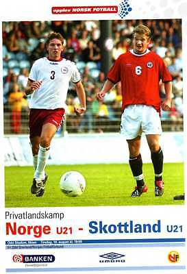 Norway V Scotland Under 21  programme August 2003