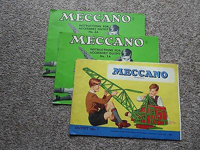 MECCANO Instruction booklets (3)Outfit No1, Accessory outfit 1A and 2A.1950/60,s