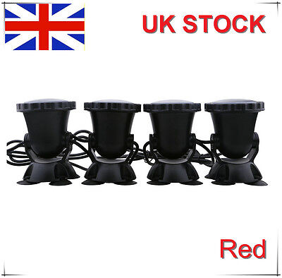 Aquarium Fish Tank Fountain Garden Pond 4X36LED Red Spot Light Submersible UK