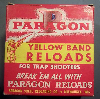 Empty Paragon Yellow Band 12 ga. Shot Shell Box.