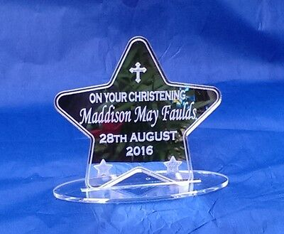 Christening Personalised Laser Engraved Gift Keepsake Baby Star Mirror Acrylic