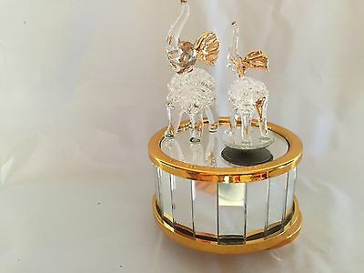 Glass Elephant Music Box With Mirrored Base Gold Trim New