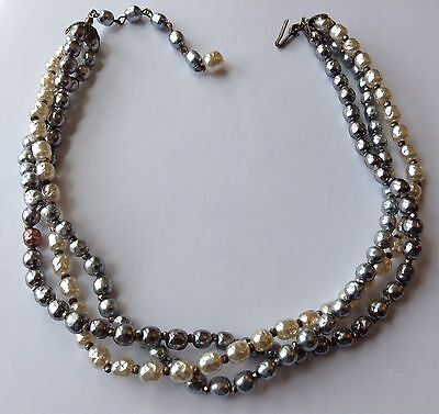 Vintage Miriam Haskell Signed 3 Strand Pearl Necklace