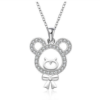 Bear Pendant 925 Sterling Silver Necklace Earring Womens Jewellery Gift