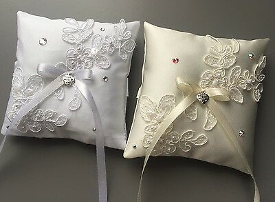 White or Ivory Wedding Ring Pillow Cushion Bearer Pearl Lace Heart Diamanté 4x4