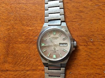 VINTAGE CITIZEN QUARTZ WATCH GN 4W S 100meter WATER RESISTANT 1980's