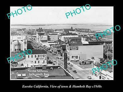 Old Large Historic Photo Of Eureka California, View Of Town & Humbolt Bay 1940