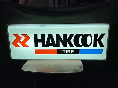 Hankook Tires Lighted Sign  New Opened Box Never Hung Dusty Double Sided 38x15