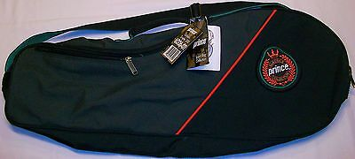 Prince Classic Black Triple 200 Racquet Bag Case Holds 3 With Shoulder Strap New