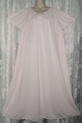 Vtg MISS ELAINE Classic Pink SOFT Nylon Long Nightgown Negligee Gown XL ++