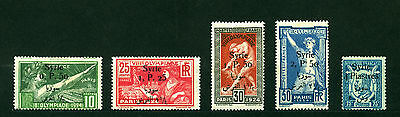 Syria 1924, Paris Olympic Games, Surcharged, Mi#254-258, Sc#166-170, MH MLH 1176