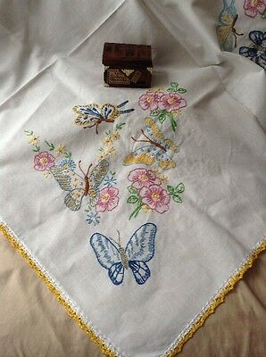 Vintage Hand Made Embroidered Linen Table Cloth w/ Colorful Butterflies Crochet