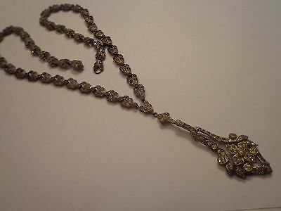 Antique Victorian Or Later Georgian Paste Stone Lariat Necklace